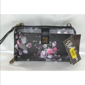 New! Elliott Lucca black floral wristlet wallet